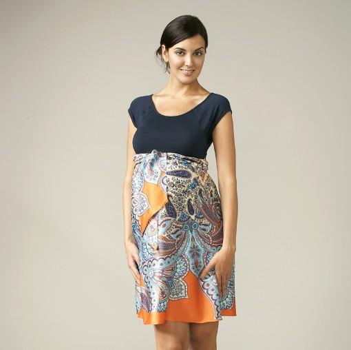 Maternal America Scoop Neck Front Tie Dress in Zig-Zag