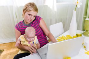Mom and Baby Working at Home