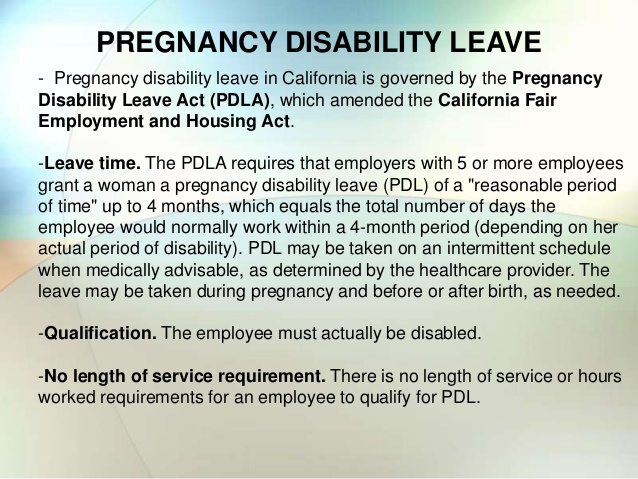 PREGNANCY DISABILITY LEAVE